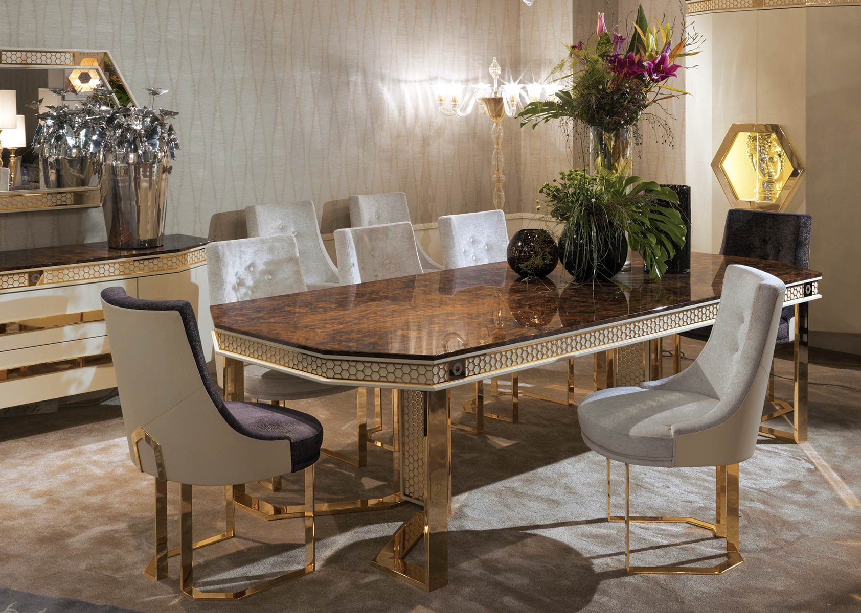 CONQUISTADOR<br/>GL/TA/RE/260/1 - Rectangular Dining Table - cm 260x120x75h<br/>GM/001/A - Chair - cm 59x59x93h<br/>GM/001/B - Chair - cm 59x59x93h