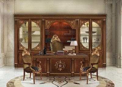 HERMITAGE<br/>C/967 - Bookcase - cm 380x52x245h<br/>C/961 - Writing desk - cm 210x90x79h<br/>B/2071/A/S/1 - Swivel armchair - cm 67x64x145h<br/>B/2071/A - Armchair - cm 65x69x123h