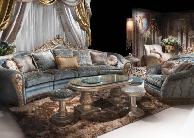 BIJOUX<br/>A/2763/3 - Sectional Sofa - cm 350x140x150h<br/>A/2761 - Armchair - cm 114x110x128h<br/>A/2764 - Central table - cm 130x70x53h<br/>A/2765/S - Side Table - cm diam. 41x40h