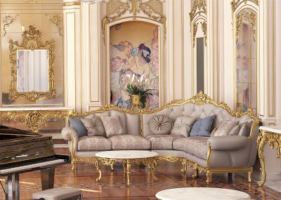 SAINT GERMAIN TRE<br/>A/2710/3 - Sectional Sofa - cm 270x270x115h<br/>A/2714/3 - Central table - cm diam. 112x50h