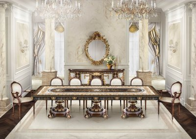 COSTA SMERALDA<br/>TR/TA/RE/400/4 - Rectangular Dining Table - cm 400x120x79h<br/>M/11001/8 - Chair - cm 50x47x98h<br/>M/11002/8 - Armchair - cm 60x60x104h<br/>TR/CR/260/4 - Sideboard 4 doors - cm 260x69x100h<br/>RA/004/S - Mirror - cm 180x141h