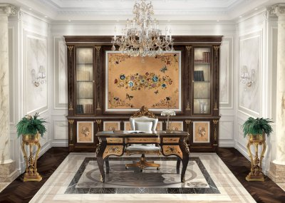 COSTA SMERALDA<br/>TR/002 - Writing desk - cm 160x90x80h<br/>B/2011/S/3 - Swivel armchair in leather - cm 64x67x150h<br/>TR/BC/360/3 - Bookcase - cm 360x54x250h<br/>E/300 - Column Vase stand - cm diam. 46x110,5h