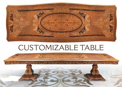 CUSTOM TABLE<br/>Customizable Rectangular Dining Table - cm 300x130x79h