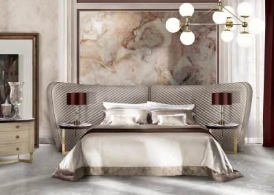 GEMMA WINGS<br/>MC28A/LE - Bed with wooden spring cm 200x200 - cm W 400  D 235  H 140<br/>MC8/TL - Side Table - cm diam. 60  H 65<br/>MC28A/CM3 - Chest of 3 drawers - cm W 135  D 55  H 90