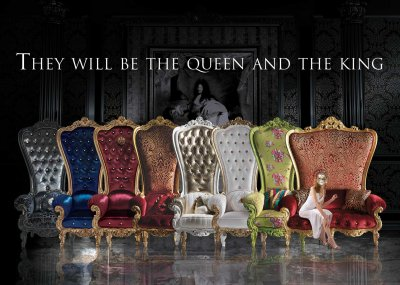 THE THRONE<br/>from left:<br/>B/110/3 - Throne - cm 98x95x195h<br/>B/110/7 - Throne - cm 98x95x195h<br/>B/110/5 - Throne - cm 98x95x195h<br/>B/110/2 - Throne - cm 98x95x195h<br/>B/110/1 - Throne - cm 98x95x195h<br/>B/110/6 - Throne - cm 98x95x195h<br/>B/110/13 - Throne - cm 98x95x195h<br/>B/120/1 - Throne - cm 162x95x195h